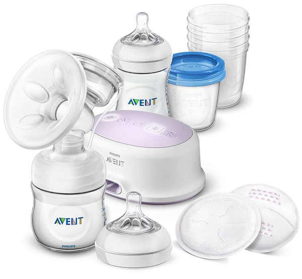 Avent  Комплект Електрическа помпа за кърмене Comfort + Шишета Natural+VIA 0549